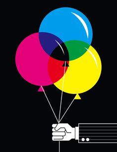 CMYK Balloons Art Print