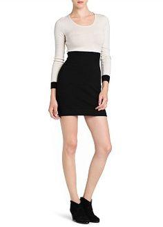 MANGO - CLOTHING - Dresses - Elastic waist bicolor dress