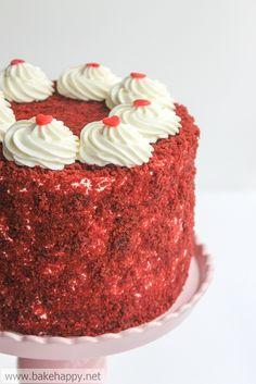 Red Velvet Cake - a really. moist fail-proof recipe.  Love the crumb decor. Super Moist Red Velvet Cake Recipe, Moistest Red Velvet Cake Recipe, Pretty Cakes, Beautiful Cakes, Just Desserts, Delicious Desserts, Bolo Red Velvet, Patisserie Cake, Bakery Recipes