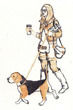 Beagle Art Handmade Print Dogs in Rome by ThreeBearsPrints, $15.00