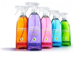 Method All Purpose Cleaners | Grease + grime don't stand a chance...not with the cutting-edge green chemistry of powergreen® technology in your grasp. Each squirt, in all its lovely non-toxic glory, delivers a mighty cleaning punch with naturally derived, biodegradable ingredients. Its cleaners, derived from corn + coconut, break down dirt naturally, leave nothing behind but a fresh scent & gleaming clean. Knock out dirt with the power of plants. 4.8 out of 5! ~