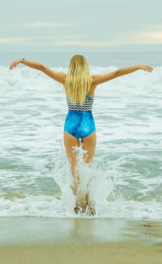 Blend in with the Sea. Embrace the ocean in an active one piece swimsuit made to keep women comfortable and modest from Beverly Swimwear