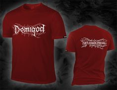"DEMIGOD ""let chaos prevail / logo"", tango red T-Shirt, white discharge print"
