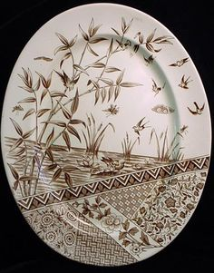Brown transferware plate, Aesthetic Movement
