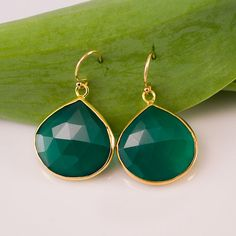 18K Gold Vermeil bezel set Deep Green Chalcedony drop earrings (oh God I want these)