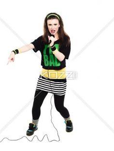 image of a female singer. - Image of a female singer against white background. Model: Megan Butt