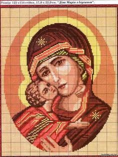 Mary and Baby Jesus bead or cross x stitch chart, scroll down Cross Stitch Gallery, Cross Stitch Tree, Cross Stitch Baby, Cross Stitch Designs, Cross Stitch Patterns, Cross Stitching, Cross Stitch Embroidery, Embroidery Patterns, Religion