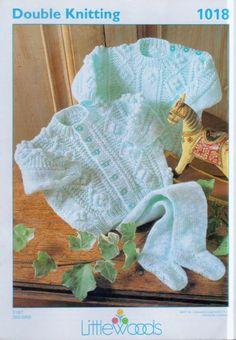 Original Vintage Knitting Pattern Littlewoods 1018 Baby Aran Cardigan Sweater Leggings Chest 16-22 Aran Yarn