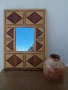 Vintage Inlaid Wood Tramp Art Style Mirror by bettyrayvintage, $34.00