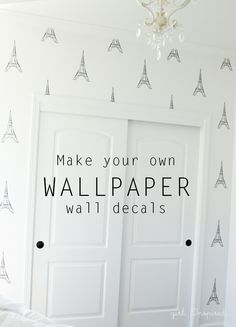 Eiffel Tower Vinyl Wallpaper - how to make your own wallpaper wall decals with your Silhouette