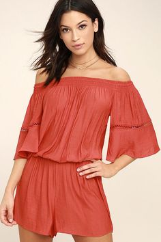 Lulus Exclusive! We are so excited to bring you the With Feeling Coral Red Off-the-Shoulder Romper! An elasticized off-the-shoulder neckline tops the breezy woven bodice, with wide short sleeves (and pierced embroidery). Elasticized waist and comfy shorts.