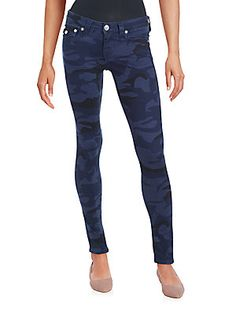 True Religion Camo Five-Pocket Skinny Jeans - Dark Navy - Size 2