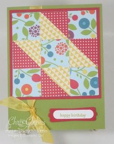 Stampin' Up Summer Smooches using the  Faux Quilt Technique