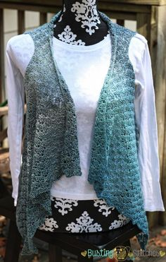 Gray and Blue Crochet Vest for Ladies