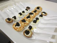 Acadian Caviar on blinis, quail eggs and baby potatoes!