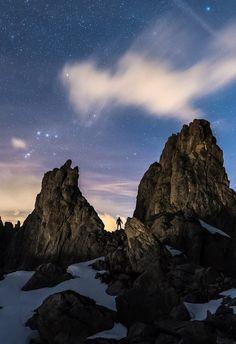Rock the night II by Nico Boco....  #sky #landscape #nature #night #light #clouds #rocks #silhouette #stars #mountain #longexposure #alps #outdoors #explore #valais #night #wanderer #Switzerland