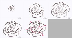 roses drawing step by step - Google Search