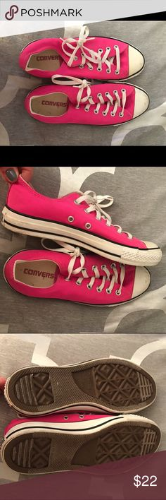 Hot pink converse sneakers Hot pink converse, size 8. Good condition, some scuff marks but overall the soles and fabric are in great shape. Plenty of wear left! Converse Shoes Sneakers