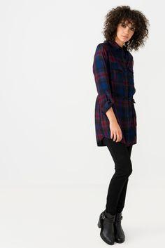 0de223a9d36d2 Suzy Shier Plaid Tunic Shirt With Sash