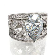 $145.95 - Jeulia 3PC Pear Cut Created White Sapphire Women's Wedding Set - Jeulia Jewelry