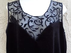 90s Women's Vintage HONORS INTIMATES - Black Velvet Mesh Lace Top Shirt Blouse Sleepwear Cami - Size Large - Made in the U.S.A. by DOINGITSOBER on Etsy
