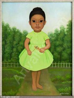 MONTOYA Gustavo - Niña con vestido verde.