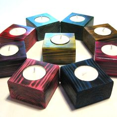 Items similar to Wood candle holders. Several colors available. Party decorations wedding decor baby shower decor housewarming wedding home decor. on Etsy Christmas Candle Holders, Candle Holder Decor, Wooden Candle Holders, Scrap Wood Projects, Woodworking Projects Diy, Woodworking Candle Holder, Tea Light Candles, Tea Lights, Diy Holz