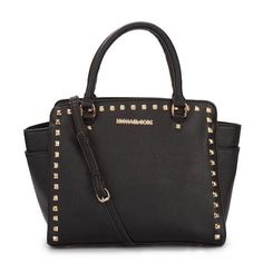 857ddaa71b3 $77 Michael Kors Selma Studded Saffiano Large Black Totes on sale. Michael  Kors Selma,
