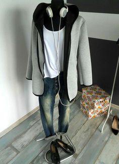 Piankowa kurtka płaszczyk z dresowym obszyciem