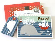 Boys Nautical Whale & Boat Party Invitation Set (10) - hardtofind.