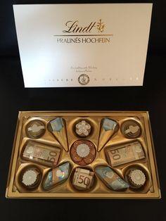 Monetary gift – chocolates - Gave Ideer Giving Up, Shadow Box, Wedding Gifts, About Me Blog, Chocolate, Deco, Creative, Gift Money, Crochet