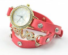 Friendship Chic 18K GP Ladies Love Tiered Leather Watch Bangle Bracelet MX1520H | eBay