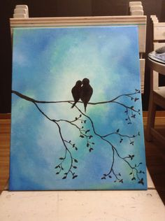 Picture I painted for my living room. Love birds!