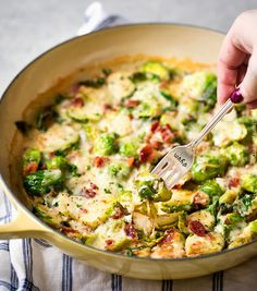 Cheesy Brussels Sprouts with Bacon   These Brussels sprouts are sautéed with shallots and garlic, topped with cream, two types of cheese, sprinkled with bacon, and baked until bubbly. It will convert even the most die hard Brussels sprouts haters!   http://thechunkychef.com