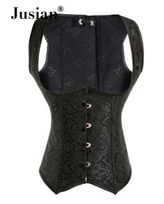 Jusian Women's Sexy Corset Top With G-string Bustier Lingerie Corselet Black AME-2989