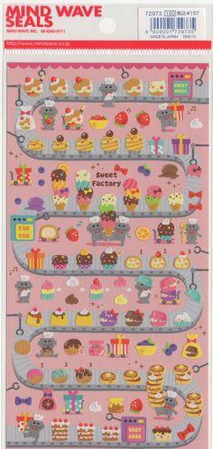 Kawaii Japan Sticker Sheet Assort: Sweet Factory on Etsy, $3.15