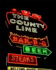 Awesome Set of BBQ signs can be seen here. Really good stuff. I've been to The County Line in Austin, TX. Here is a BBQ joint picture . Bbq Signs, Drink Signs, Vintage Neon Signs, Texas Bbq, Loving Texas, Neon Nights, Lone Star State, Best Bbq, Texas Travel