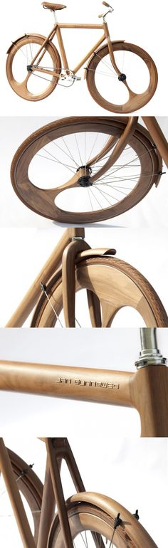 Jan Gunneweg Wooden Bike - Bom exemplo do uso da madeira para… Wood Bike, Wooden Bicycle, Bicycle Art, Velo Design, Bicycle Design, Ux Design, Bullitt Bike, Pimp Your Bike, Design Industrial