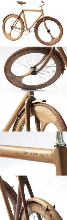 #wood #bike Jan Gunneweg Wooden Bike - Bom exemplo do uso da madeira para construção de uma bike °°