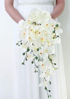 White Orchid Cascade Bouquet   Silk Wedding Flowers   Afloral.com