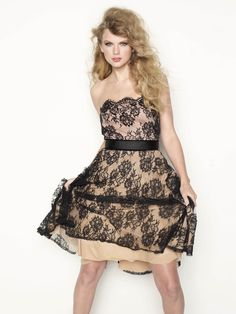 Taylor Swift in a Tadashi Shoji dress and Dolce and Gabbana shoes for Glamour Magazine she's a good model