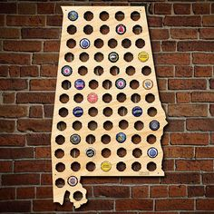"After 5 Workshop ""Alabama Beer Cap Map"" Large Wall Decor 4713 - The Home Depot Cute Wall Decor, Flower Wall Decor, Metal Wall Decor, Home Depot, Alabama, Finishing Nails, Beer Bottle Caps, Beer Art, Dark Walnut Stain"