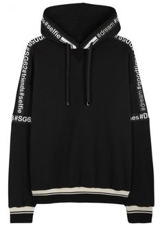 Dolce & Gabbana black cotton sweatshirt Drawstring hood, printed grosgrain trims, striped, ribbed cuffs and hem Slips on 100% cotton