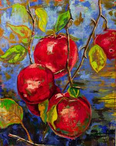 Expressionist Oil painting of Apples. Inspired by the lusciousness of the fruit growing in the wild. The feelings are enhanced and brought to the forefront by the gorgeous yet peaceful colors. Natu...