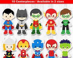Pieza central de superhéroe, superhéroe de mesa, superhéroe de la torta, decoración de la pared de superhéroe