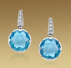 Серьги Bvlgari из белого золота 18 карат с голубыми топазами и бриллиантами