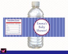 Printable Personalized Natical Blue Red White Stripes Water Bottle Labels Wrappers - Birthday Party Baby Shower Boy Custom Wraps