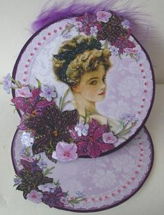 Card Gallery - Vintage Lady in the Flowers Round Easel Card Mini Kit