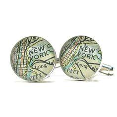 DLK Designs, LLC - NYC Antique Map Cufflinks