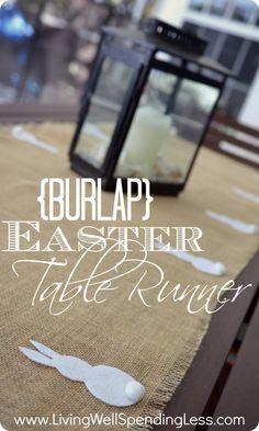 No-Sew Burlap Easter Table Runner with felt bunnies--so cute & simple & CHEAP!